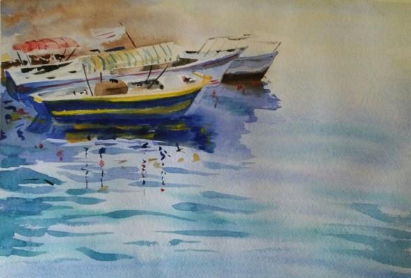 Акварель море и лодочки